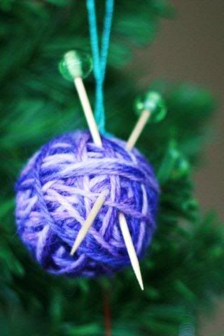 Yarn ball ornament. Will be on my tree for Marcia