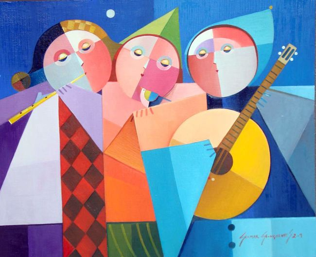 GILMAR GONÇALVES - Três figuras do ciúme Óleo sobre tela - 50 x 60