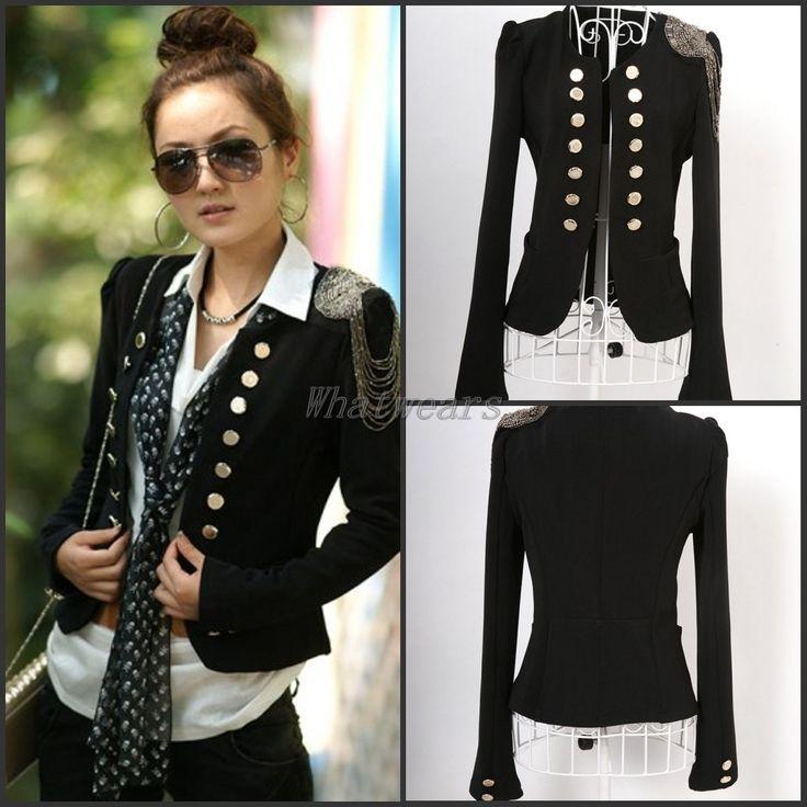Damen zweireihig Pailleten gold Knopf kurze Jacke Anzug Sakko Mantel Schwarz ML | eBay