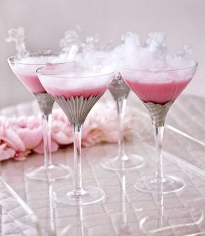The smoke rising from this frozen cranberry martini is created by dry-ice pellets that instantly dissolve. Vanilla vodka, cranberry juice, heavy cream and grenadine cocktail