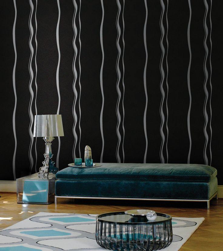 Empapelado - Rayado sinuoso negro - Papel de parede