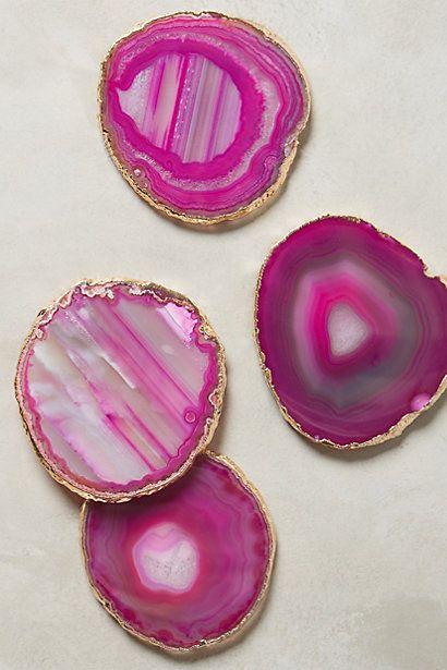 Gilded-Edge Agate Coasters