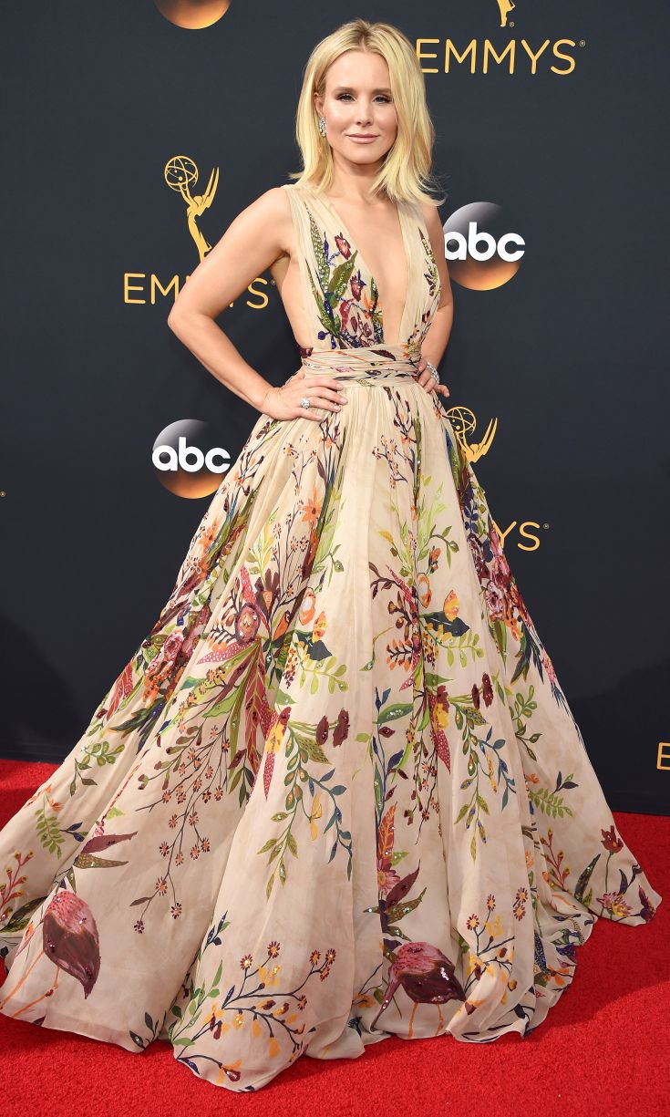 KRISTEN BELL in a  Zuhair Murad Couture gown with flamingos and flowers, plus Harry Winston jewelry, 2016 Primetime Emmys