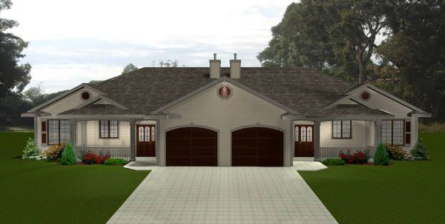 PLAN 2011547 - DUPLEX HOME by Edesignsplans.ca.  Good curb appeal.  Would be great  in any neighborhood.  Two bedroom design with garage and covered front deck.  Could easily be made into a barrier free floor plan.