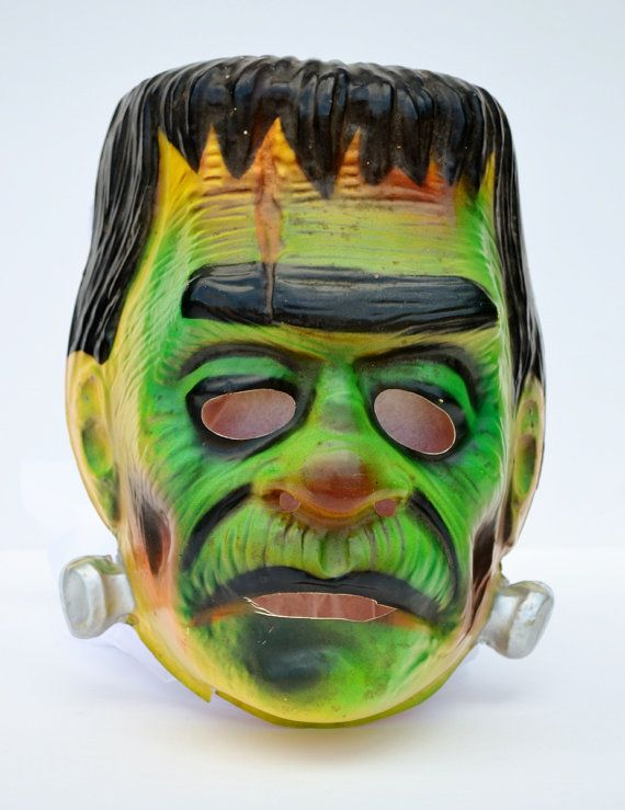 Frankenstein Mask Halloween Ben Cooper Plastic Monster Adult Horror Movie 1970's
