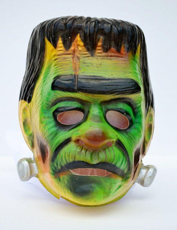 Frankenstein Mask Halloween Ben Cooper Plastic Monster Adult Horror Movie 1970's