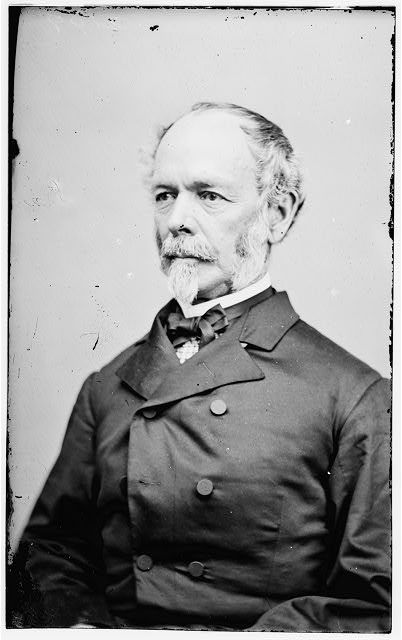 General Joseph Johnson (Confederate) (1807-1891). With the rank of brigadier general as Quartermaster General of the U.S. Army, Johnson was the highest ranking officer to join the Confederacy. After the war, he served as a commissioner of railroads in the administration of President Grover Cleveland. Photo taken by Mathew Brady. (Library of Congress).