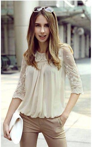 S-XXL!! 4 Colors!! 2013 EU new fashion summer WomenLadies plus size chiffon casual vintage embroidery shirts/print lace Blouses $15.99