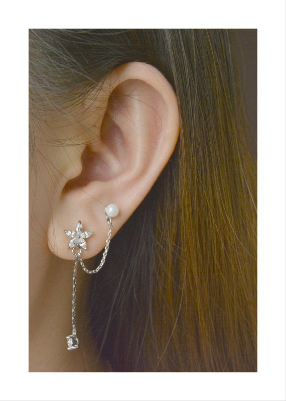 Flower & Pearl Double Piercing Earring Surgical Stainless Steel Post, Zirconia Double Earring, Cartilage Piercing Earring, Two Holes Earring