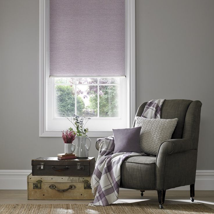 Style Studio Jasmine Asc Mulberry roller blind. Living room blinds. Contemporary purple colour inspiration. Ultra Violet. Pantone colour of the year 2018.