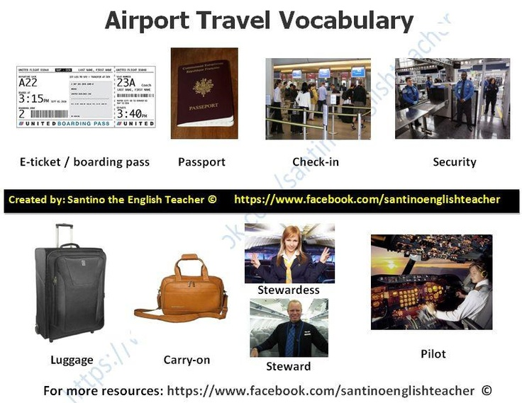 Airport vocabulary! | ESL - English as a second language | Pinterest