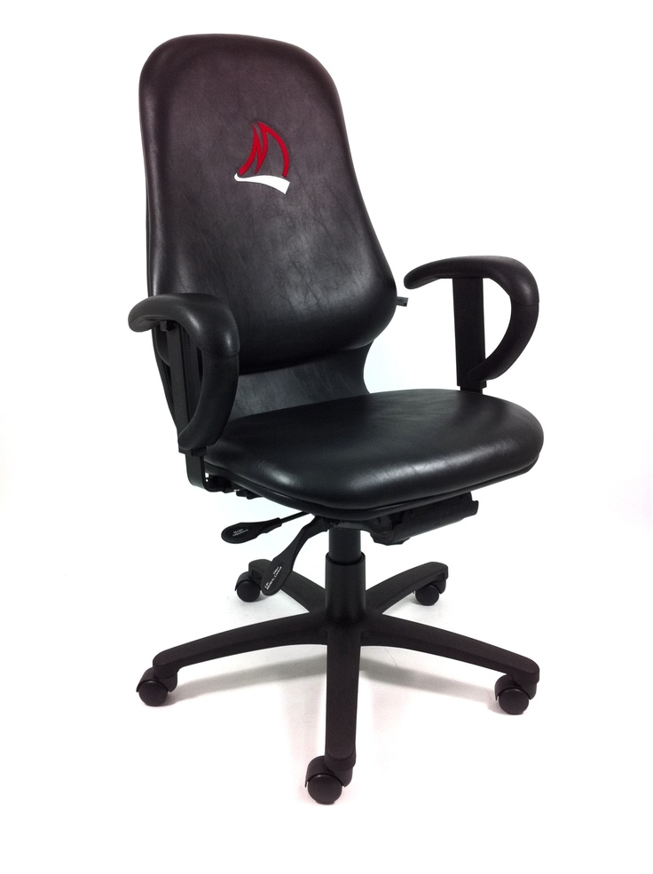 Embroidered with their brand, the Wallace McCain Institute boardroom chair, great lumbar support, stylish shape. Black is in.
