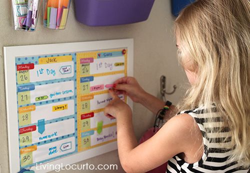 After School Station with Free Printable Weekly Calendars for Kids by LivingLocurto.com