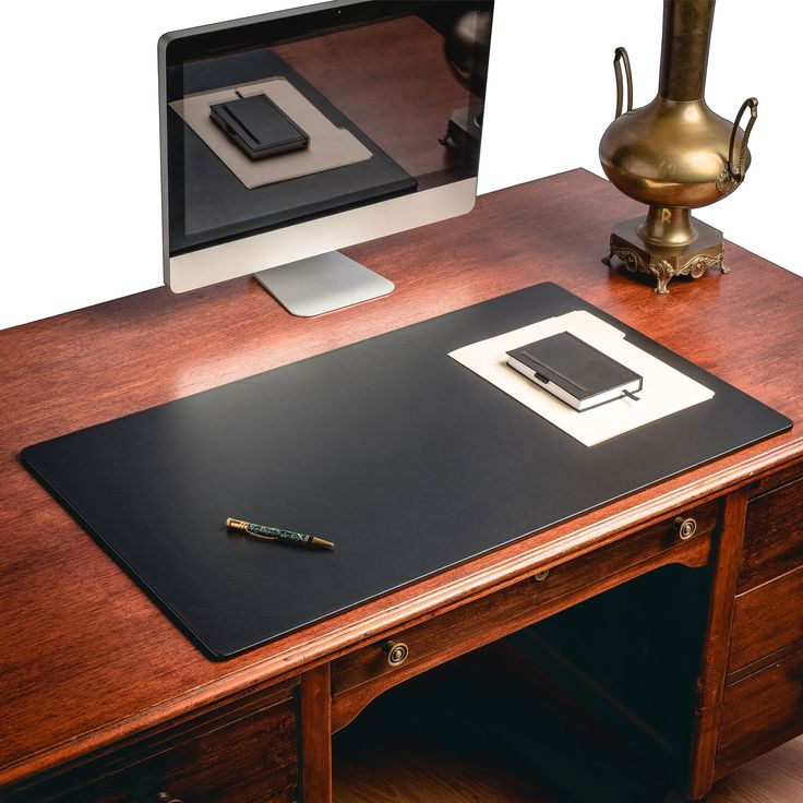 Elegant Homeoffice Desk: Black Leather Desk Pad W/out Rails, 38 X 24
