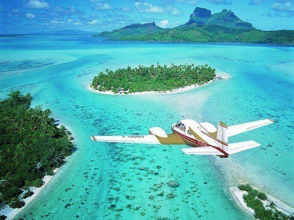 Вид на остров Бора-Бора, Французская Полинезия
