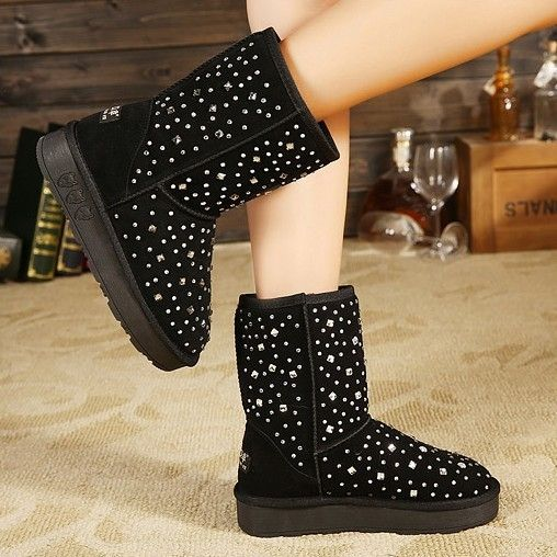 High Quality Comfortable Rhinestone Cowleather Flat-boot Flat Boots from fashionmia.com