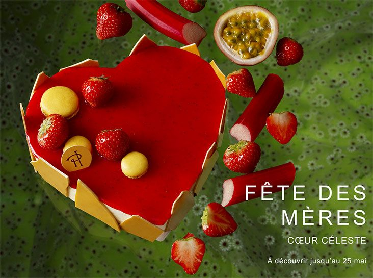 Coeur Celeste de Pierre Herme Sablé breton, confit de rhubarbe aux fraises, crème de mascarpone au fruit de la Passion, fraises, meringue croustillante au fruit de la Passion. Déclinée sous la forme d'un cheesecake, Céleste se réinvente dans un nouveau jeu de saveurs entre le fruit de la Passion et le mélange fraise-rhubarbe, mis en valeur par le contraste des textures. Sur un fond de pâte sablée, le moelleux du cheesecake au fruit de la Passion, le mouillé du biscuit imbibé du même arôme…