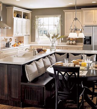 Love this island bench seating in the kitchen
