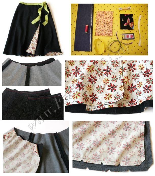 Выкройка юбки с запахом на завязках