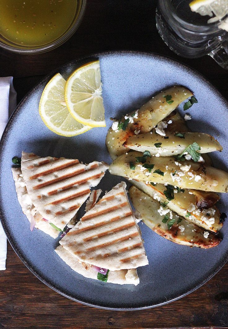 Greek Chicken Pita Paninis with a blow-your-mind Greek salad dressing!