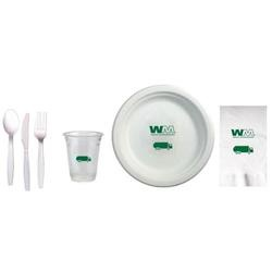 Cup, plate, napkin & cutlery party kit to include: 15 ea.-Item# GC16S, 16 oz. clear compostable cups, 15 ea.-Item# CP875, 8.75 in. round, white compostable heavy duty paper plates, 30 ea. - Item# D52S, White, 2-ply dinner napkins made from recycled materials & compostable, 15 ea.- of white, compostable FORKS, KNIVES & SPOONS, all packaged into ONE SEALED poly bag kit,       $14.50
