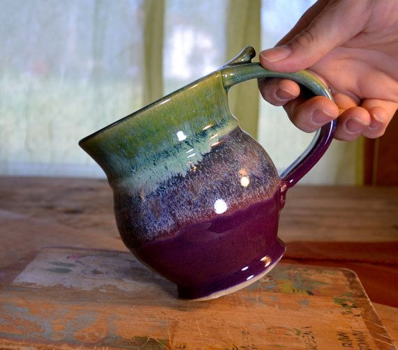 Coffee mug ceramic, tea cup pottery, glazed in purple and green, handmade stoneware by hughes pottery hand made