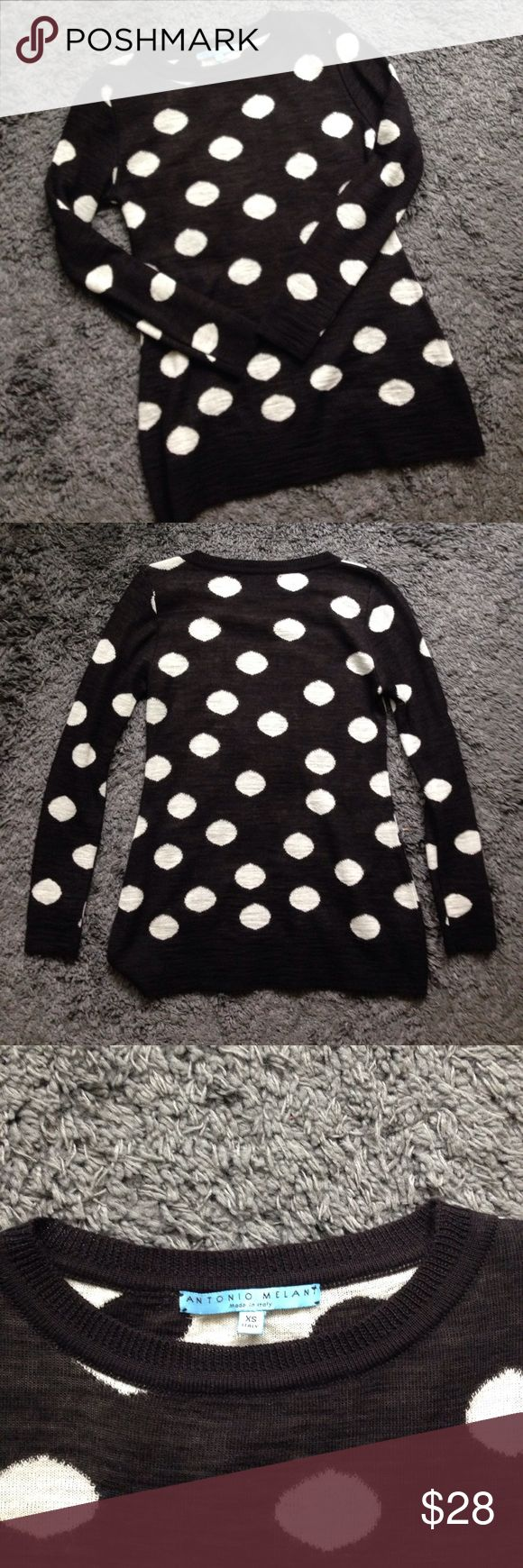 Antonio Melani made in Italy polka dot sweater XS This sweater is so nice and soft! Antonio Melani, made in Italy, size extra small. Has a bit of stretch to it. Has two little funny stitches, barely noticeable and not holes, but otherwise is in excellent used condition! Feel free to ask questions or make offers! Please pay attention to measurements!                                           Bust: 32 inches  Waist: 30.5 inches  Overall length: just under 26 inches ANTONIO MELANI Sweaters Crew…