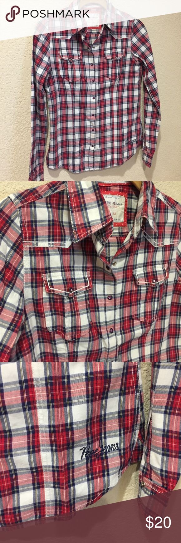 Pepe Jeans London snap plaid weather shirt Pepe Jeans London snap plaid weather shirt great preloved Pepe Jeans Tops