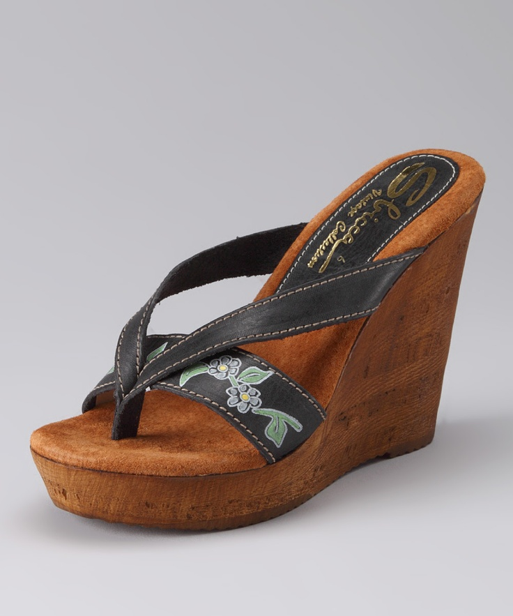 Black Woods Wedge Sandal | Daily deals for moms, babies and kids