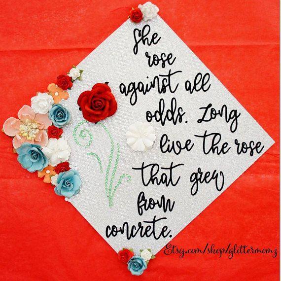Graduation Cap Topper Rose Grew Through Concrete Flower