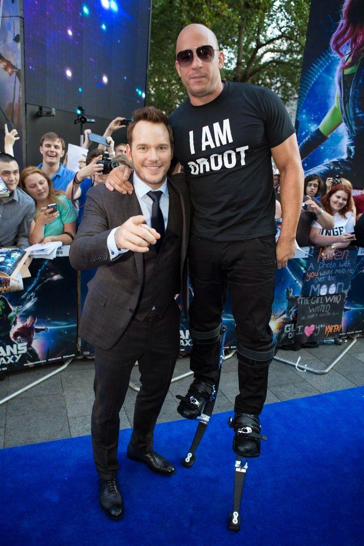 "London premiere of Marvel's Guardians of The Galaxy: Chris Pratt & Vin Diesel who wore stilts & an ""I Am Groot"" shirt."