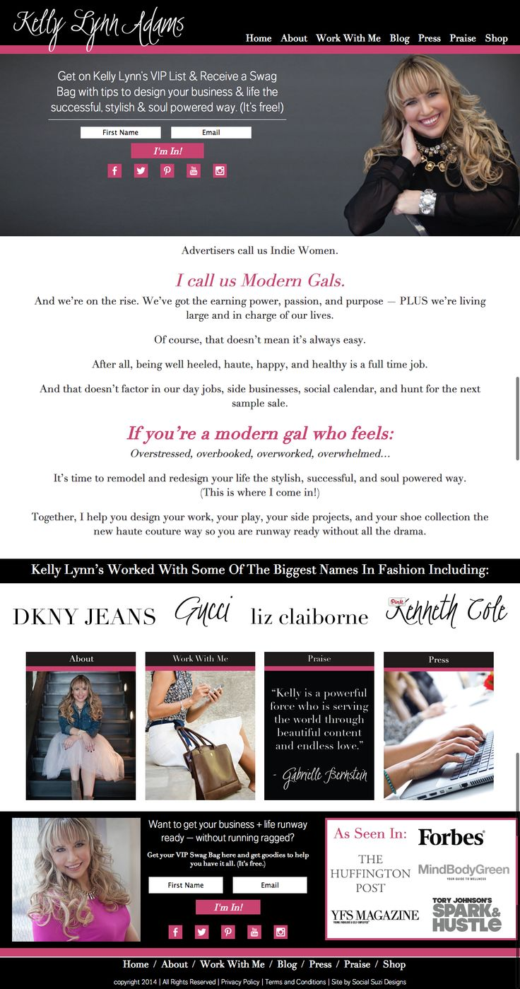 A new web design for Kelly Lynn Adams | Social Suzi Designs