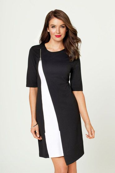 Buy Ping Pong Asymetrical Contrast Dress   Shop Dresses Womenswear at the BrandStore EziBuy NZ