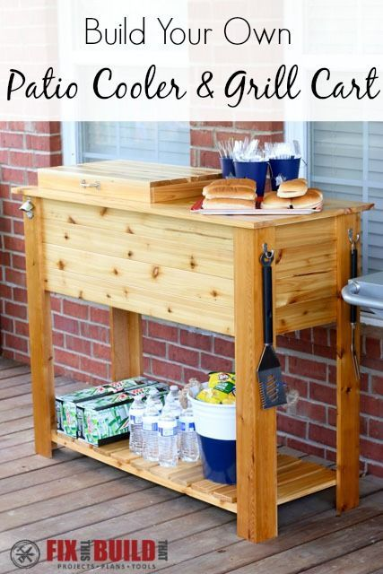 Build a DIY Patio Cooler and Grill Cart combo. Host your next BBQ grilling session in style with the cooler box holding the drinks and the barbecue station serving the food. Easy to follow plans and a full video walkthrough!