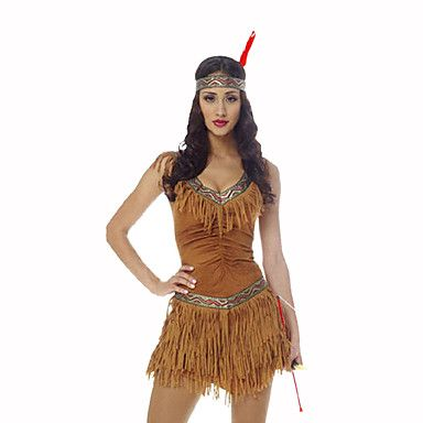 Festival/Celebração Trajes da Noite das Bruxas Castanho Estampado Vestido / Decoração de CabeloDia Das Bruxas / Natal / Carnaval / Dia da de 5430835 2017 por R$104,75