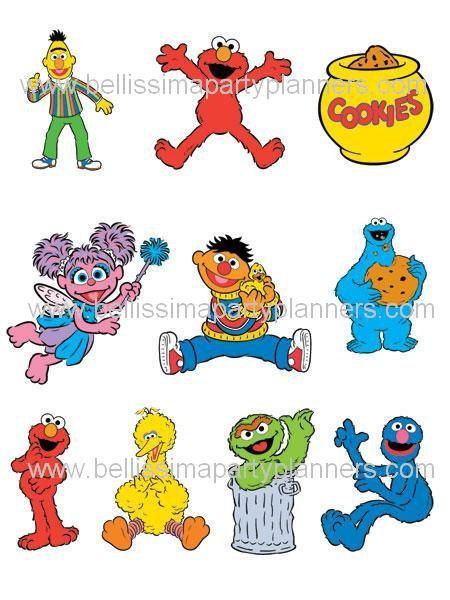Sesame Street Characters on cardstock by BellissimaParty on Etsy