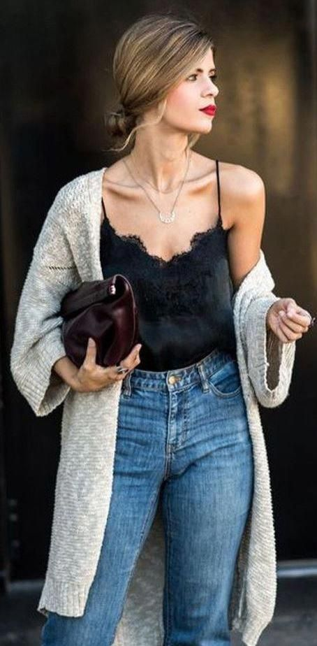 black lace bodysuit with high rise girlfriend jeans and a cream colored  cardigan. Visit Daily Dress Me at dailydressme.com fo…  13ae72fc07