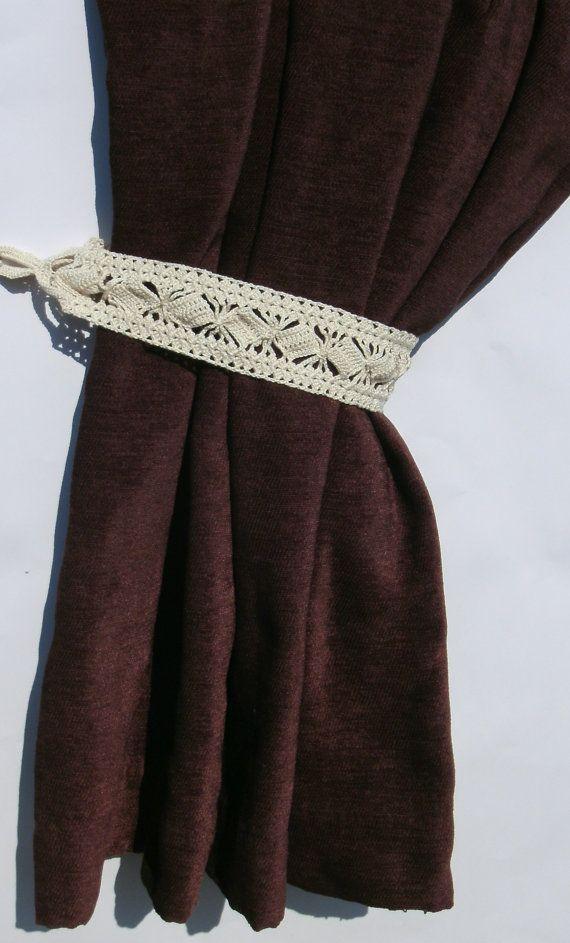 Crochet curtain tiebacks Curtain tie backs by CrochetedCosiness
