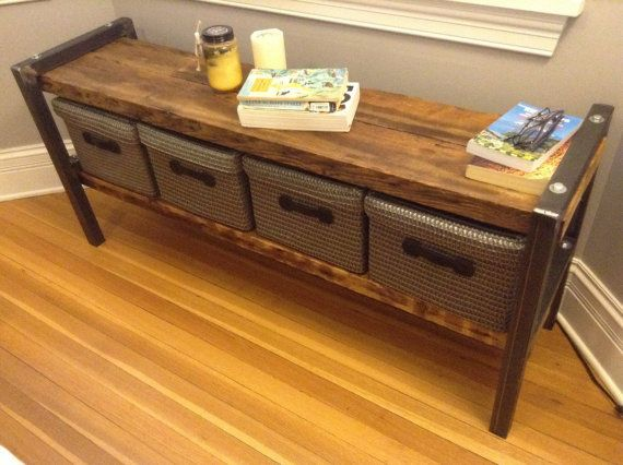 36W x 12D x 19H    Lower Prices - wageoflabor.com -    Simple, sturdy construction of steel and ***reclaimed old growth wood that shows decades worth