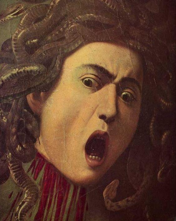 Caravaggio, Testa di Medusa, particolare, 1590