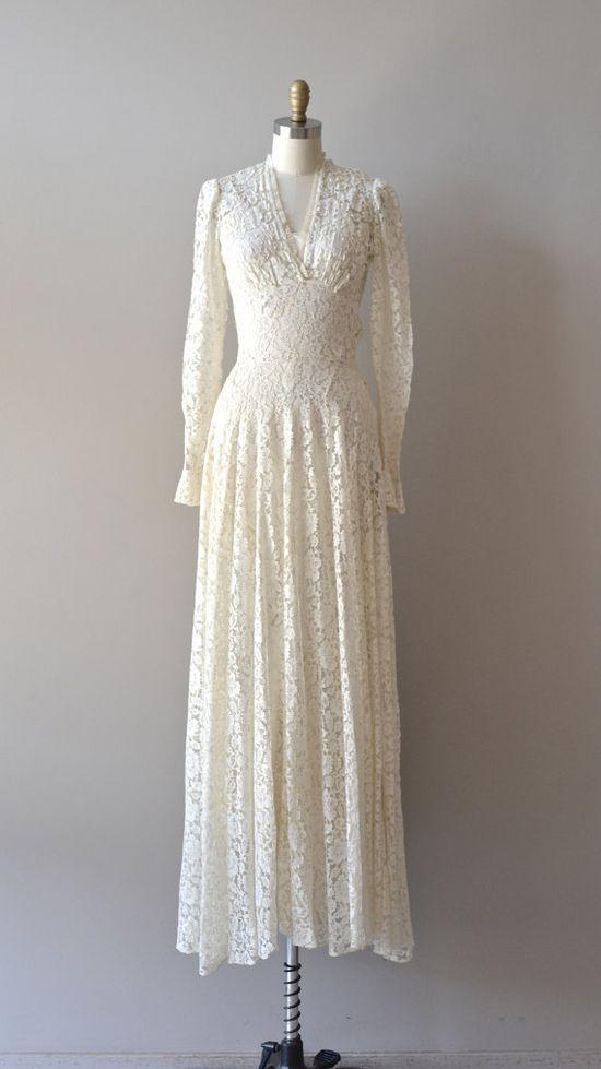 1930s wedding dress / lace 30s dress / Lissome Lace wedding