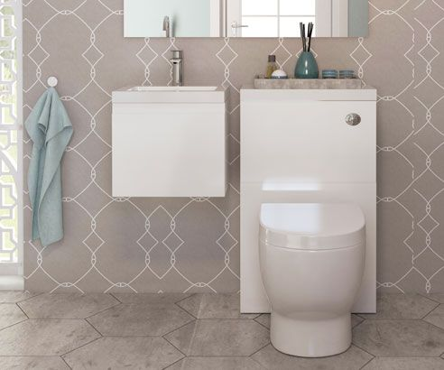 Loft White 400 Wall Hung Combination Unit Set with Sink, Cistern & Toilet - V50181144CU scene square medium