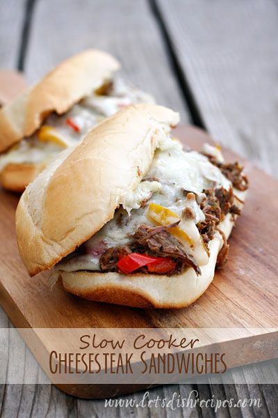 My husband loves cheese steak sandwiches and this slow cooker version is so simple and full of flavor. If you like mushrooms in your cheese steak, add them when you add the peppers, during the las...