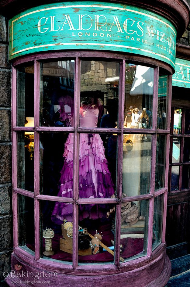While this gown in the window of Gladrags Wizardwear is not hidden at all, true fans will recognize it as the dress Hermione wore to the Yule Ball // 20 Things You Probably Didn't Know About the Wizarding World of Harry Potter