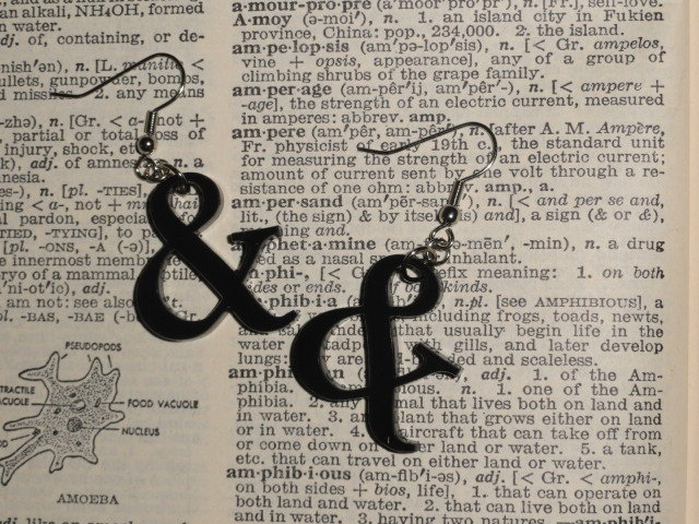 Ampersand Symbol Acrylic Earrings. $8.00, via Etsy.