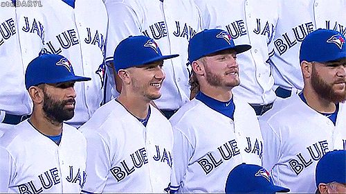 Josh & Russ trying to look taller in the Blue Jays team photo:)