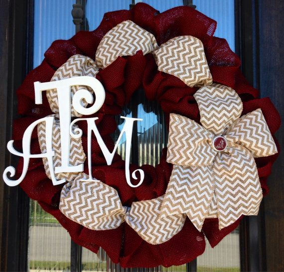 Texas A&M Aggie burlap and chevron wreath by OnMyFrontDoor on Etsy