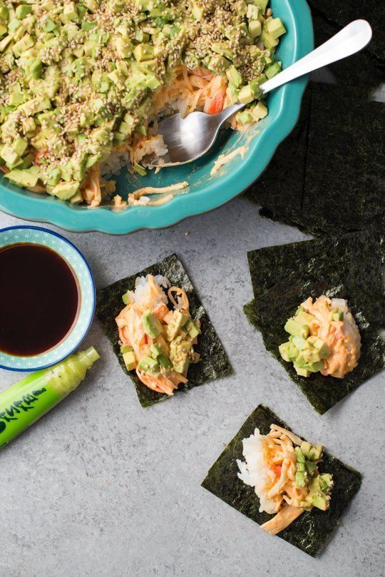 Spicy California Roll Dip is the interesting party food recipe you've been waiting for! Impress your guests with this CRAZY FUN dip that'll have everyone asking for the recipe. Who doesn't love a fun, delicious, unique appetizer recipe? You'll need sushi-grade rice, rice vinegar, sugar, salt, krab, mayonnaise, sriracha, avocado, sesame seeds or furikake and nori.