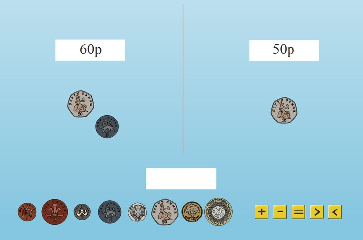 Use these coins to make a range of money based addition and subtraction problems for your pupils - for example, exchanging sets of coins, adding up, counting on to make equal sets...