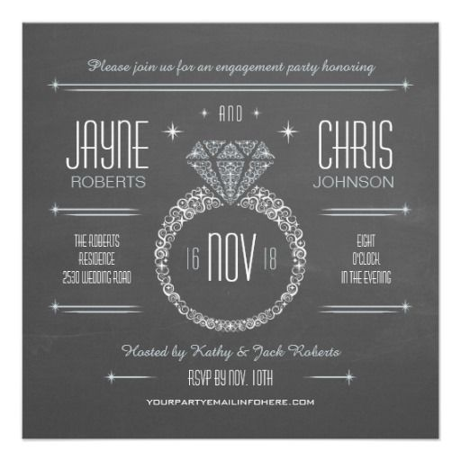 Chalkboard Engagement Party Invitation Printable By: Chalkboard Engagement Ring Party Invitation